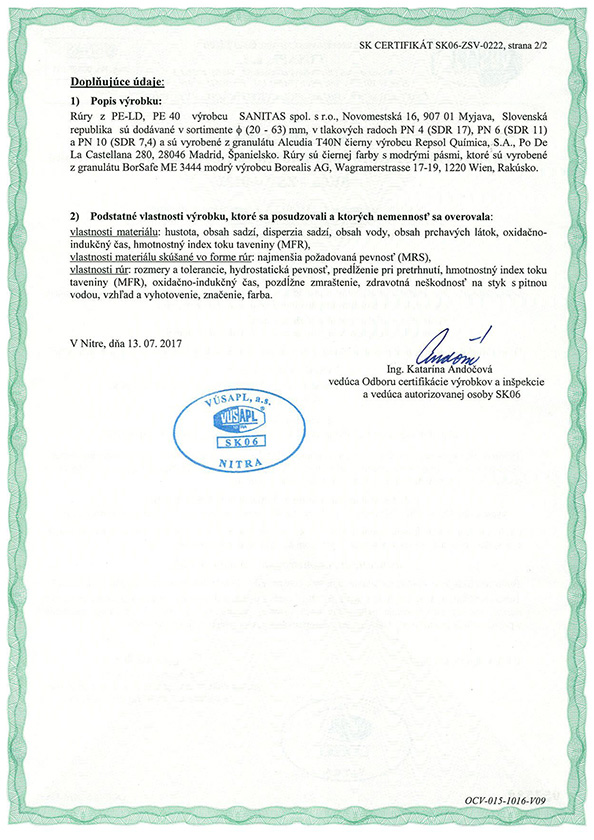 Certifikát LDPE SK