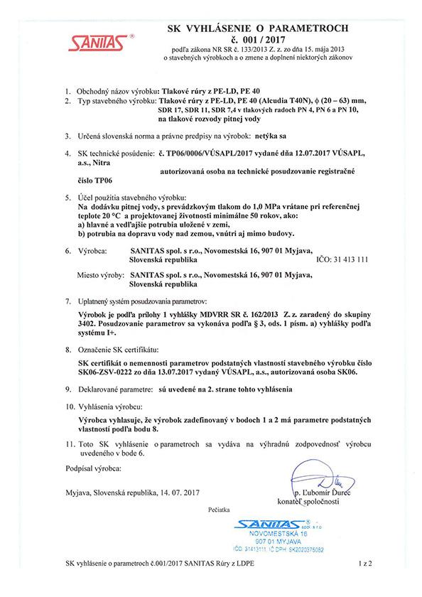 Vyhlásenie o parametroch č. 001 / 2017 LDPE