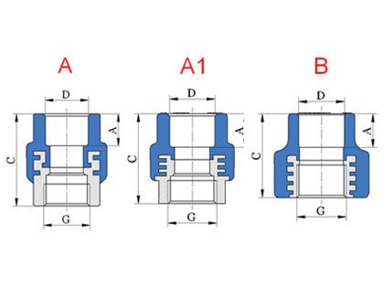 D-G prechodka priama, závit vnútorný