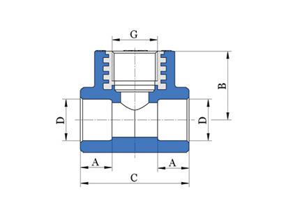 Тройник с матрицей из латуни, резьба внутренная